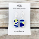 Polymer clay earrings, sterling silver hooks, white, cobalt blue and yellow