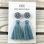 Tassel earrings - Handcrafted polymer clay earrings in pink and blue  mosaic