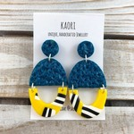 Handcrafted polymer clay stud dangle earrings in teal green and yellow