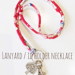Lanyard / ID Holder Necklace / SAKURA -RED multi / Kimono cord