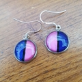Half and half earrings - pink and blue