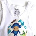 """Size 1 to 3 Months - """"Happy Monkeys"""" Nappy Pants & Appliqued Singlet"""