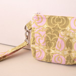 Wristlet clutch bag- Pink and green pleated