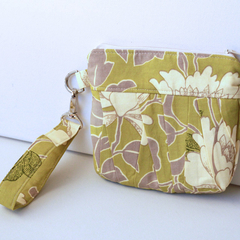 Wristlet clutch makeup bag green floral