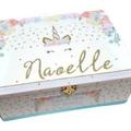 Pastel Floral Unicorn Time Capsule, Keepsake, Trinket, Treasure, Wooden Baby Box