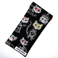 Padded Sunglasses Pouch in Skeleton Cat Fabric