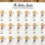 Tennis Planner Stickers (blonde hair girl) - Tennis Lessons Stickers, Tennis Pra