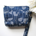 Wristlet clutch bag blue and white flowers