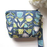 Wristlet clutch bag blue and yellow scandi floral