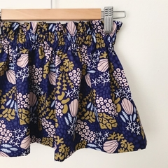 Size 2 - High Waist Skirt - Navy - Mustard - Organic Cotton -