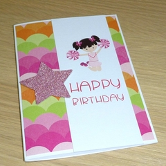 Happy Birthday card - Cheer leader girl