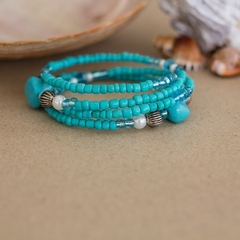 Turquoise Gemstone Beaded Wrap Bangle