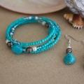 Turquoise Gemstone Beaded Wrap Bangle
