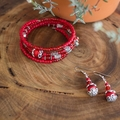 Red and Silver Gypsy Style Wrap Bangle Bracelet