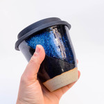 Handmade Ceramic reusable coffee cup keep cup with silicone lid - twilight sky