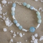 Aquamarine Gemstone Nugget Bracelet
