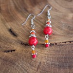 Red and Orange Boho Style Earrings