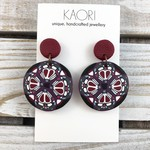 Polymer clay earrings, statement earrings in purple, burgundy and black floral