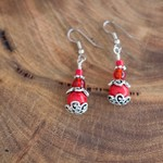 Red and Silver Gypsy Style Earrings