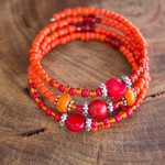 Red and Orange Boho Style Wrap Bangle