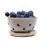 Rustic handmade ceramic berry Bowl w/ matching saucer - dishwasher safe - nutmeg
