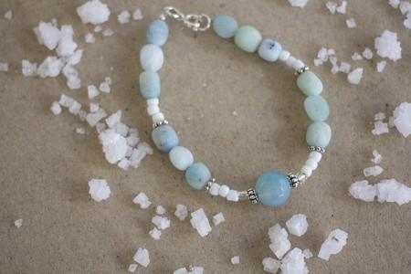 Aquamarine Gemstone Nugget Bracelet