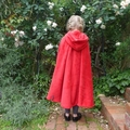 Child's Coral Fleece Cloak with Hood - red