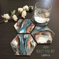 Set of 4 Resin and Wood Drink Coasters