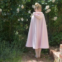 Child's Coral Fleece Cloak with Hood - pale pink