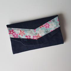 Pastel floral print and denim fabric OOAK wallet