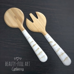 White and Gold Resin Art Bamboo Salad Server Set (2 piece)