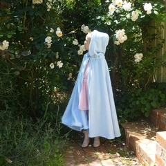 Child's Coral Fleece Cloak with Hood - pale blue
