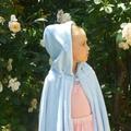 Child's Coral Fleece Cloak with Hood - pale blue