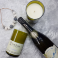 """Champagne"" soy wax candle in recycled wine bottle"