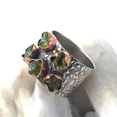 Size  R 3/4, Natural Dark Green PERIDOT, Sterling Silver & Copper Ring.