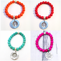 Personalised Multi Colour Bead Bracelet with Hand Stamped Family Tree Charm