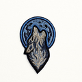 Wolf Howling to a Full Moon embroidered and Iron on Patch