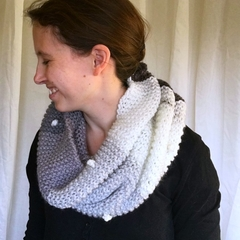 Neutral and Grey Snood with white pom-poms