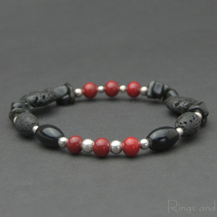 Black lava sterling silver red Murano glass bracelet. Black stone bracelet.