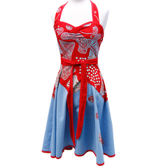 Halterneck Dress Red and Blue. Yarrabah Art Fabric Size 10 (S)
