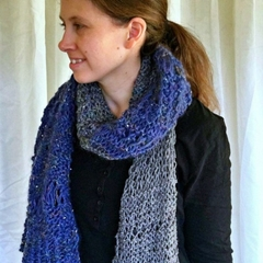 Indigo and Grey Mixed Fibres Scarf