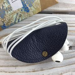 Leather and kimono fabric headphones cord wrap cable tidy - indigo blue floral