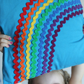 Rainbow Ric Rac cushion/pillow cover.
