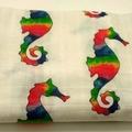 100% Organic Muslin baby Wrap - Rainbow Seahorse Print
