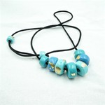 Bead necklace, teal and gold chunky beads on adjustable satin cord