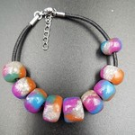 Bracelet, multi coloured beads with silver inclusions, leather bracelet