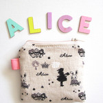 Zippered pouch, coin purse Alice in Wonderland printed Japanese cotton