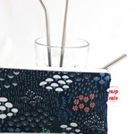 Stainless steel straw zippered bag/toiletries bag/makeup bag.