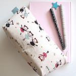 Zippered pouch, pencil case, bag organiser in Japanese cotton Ballet dancers