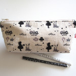 """Zippered pouch, bag organiser in """"Alice in Wonderland"""" themed Japanese cotton"""